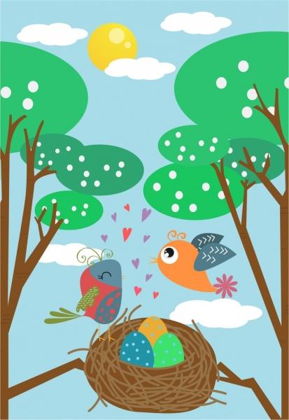 bird nest background eggs icons colored cartoon decor