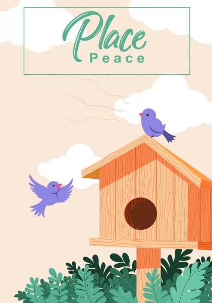 bird nest background wooden cottage icons cartoon design
