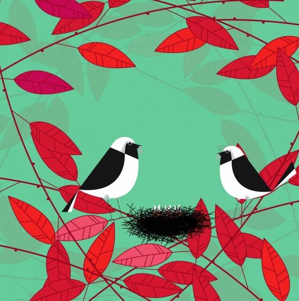 bird nest red leaf icons