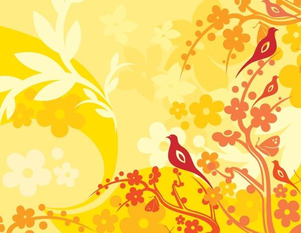 nature painting bird tree icons decor classical design