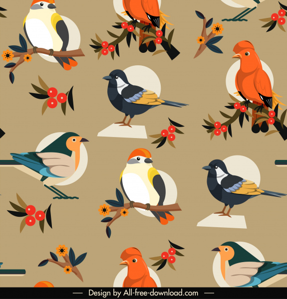 bird species pattern colorful classic repeating design