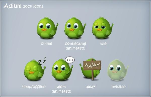 Birdie Adium Dock Icons icons pack