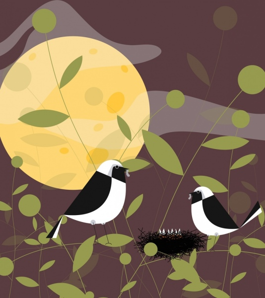 birds background classical colored cartoon