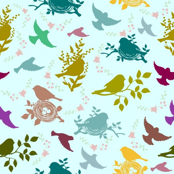 birds background colorful silhouette decoration