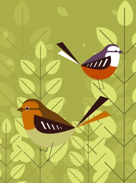birds background sparrow icon multicolored flat decor