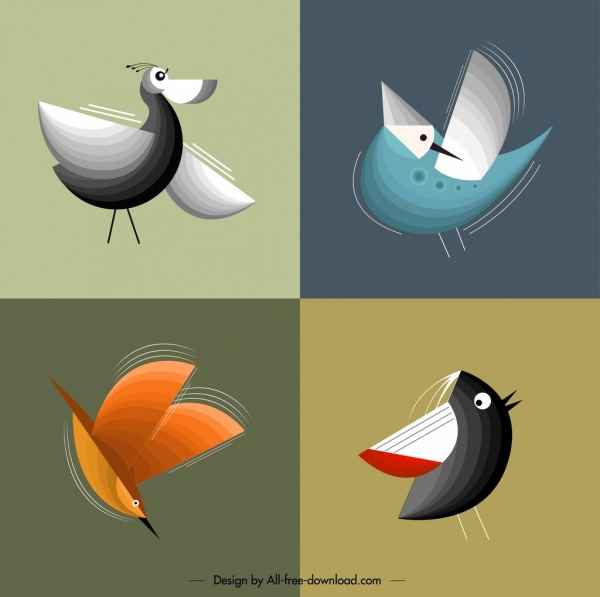 birds background templates colorful classical flat design