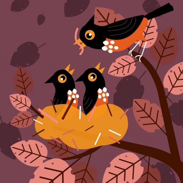 birds family background colored cartoon design