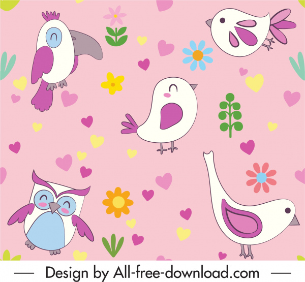 birds pattern colorful bright flat decor