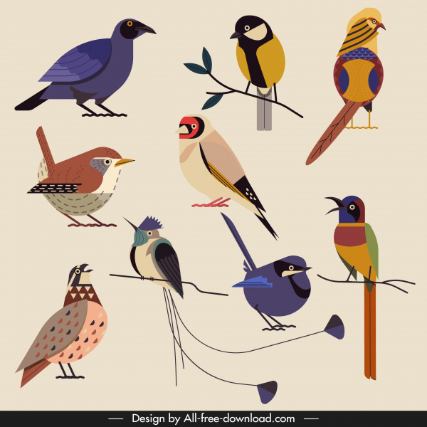 birds species icons colorful classical perching sketch