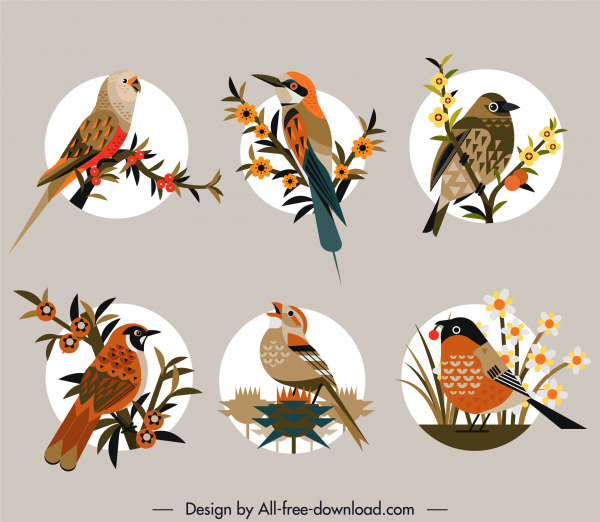 birds species icons colorful flat retro perching sketch