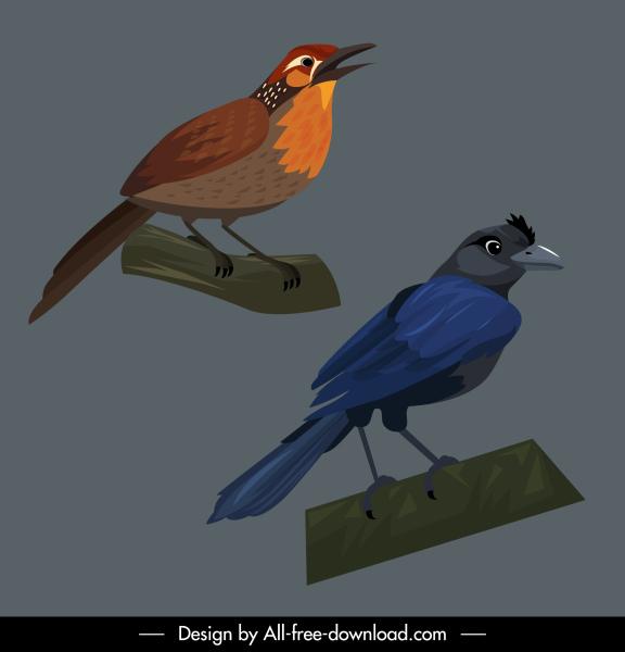 birds species icons raven magpie sketch cartoon design