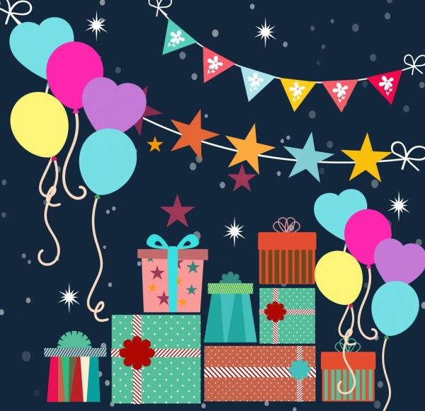 birthday background balloon gift flat ribbon icons decor