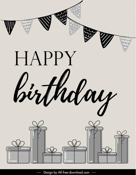 birthday background black white flat ribbon gift sketch