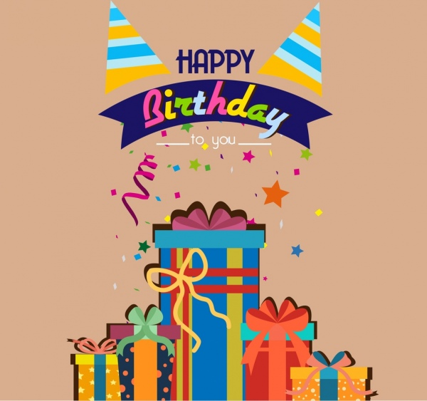 birthday background colorful eventful decoration box icons