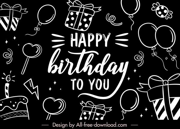 birthday background template black white flat handdrawn symbols