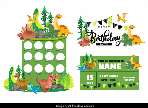 birthday background templates colorful cute dinosaurs characters decor