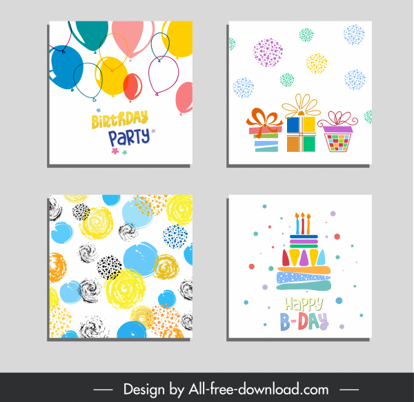birthday background templates colorful handdrawn decorated elements