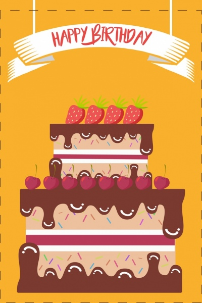 Birthday Banner Chocolate Fruits Layers Cake Decoration