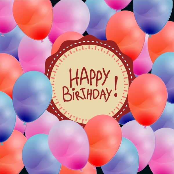 birthday banner colorful balloons ornament round badge design
