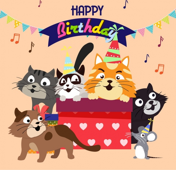 birthday banner cute cats icons multicolored cartoon
