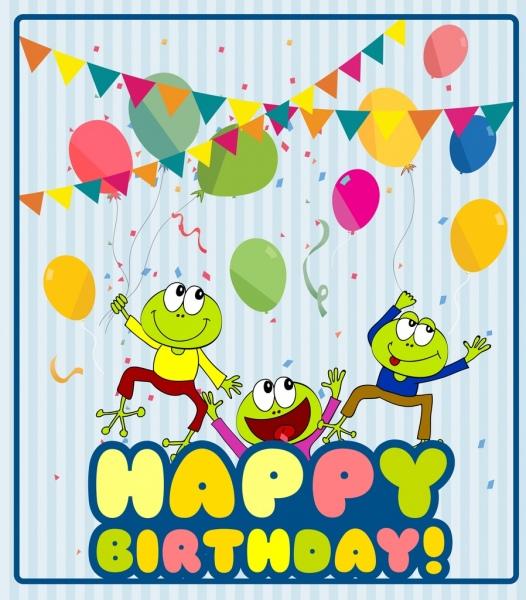 birthday banner cute green frog stylization