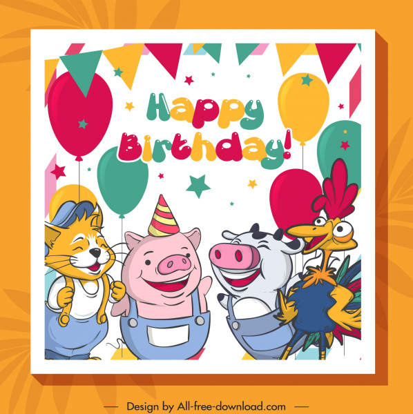 birthday banner funny stylized animals friends sketch