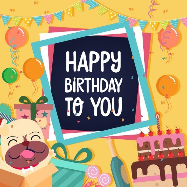 birthday banner gifts cake balloon ribbon decoration