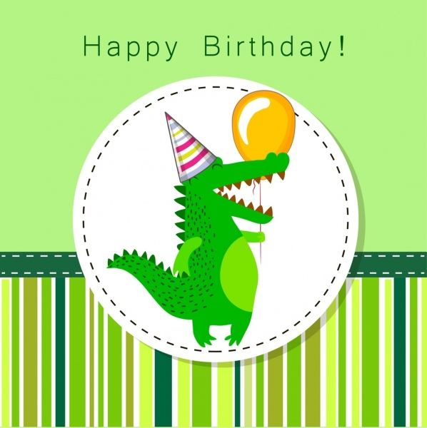 birthday banner green design stylized crocodile icon ornament