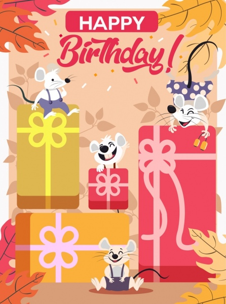 birthday banner joyful mice gifts icons stylized design