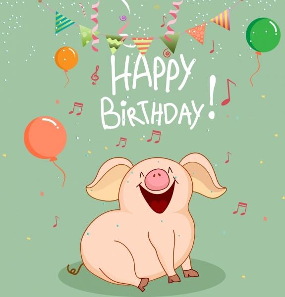 birthday banner singing pig icon cartoon design