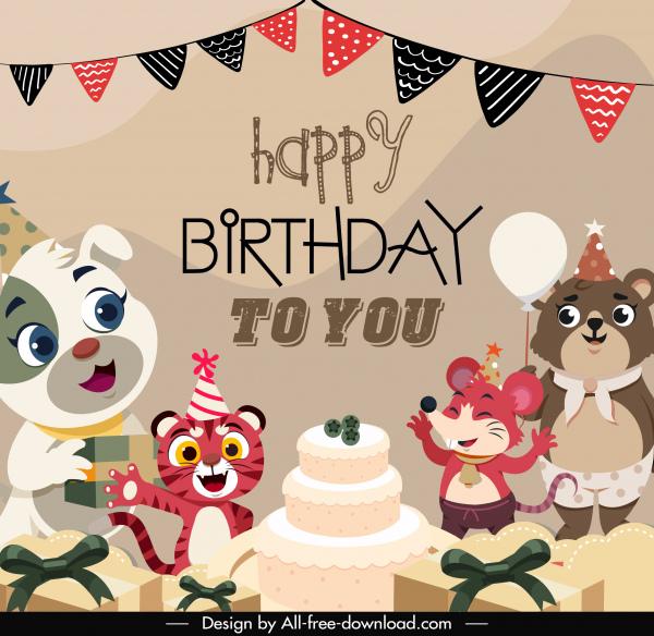 birthday banner template cute stylized cartoon animals sketch