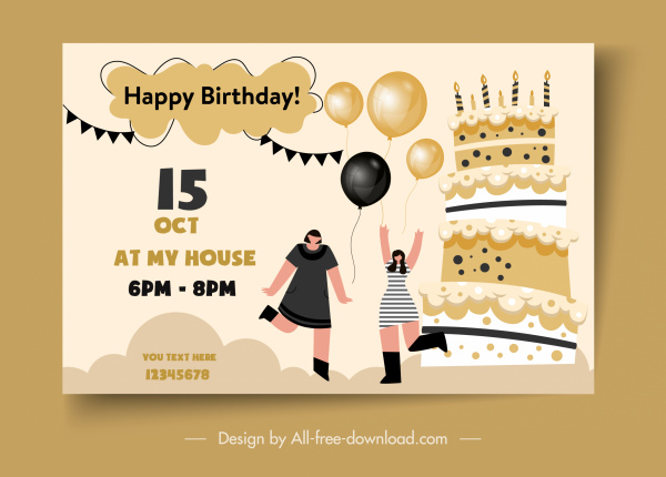 birthday banner template elegant flat symbols sketch