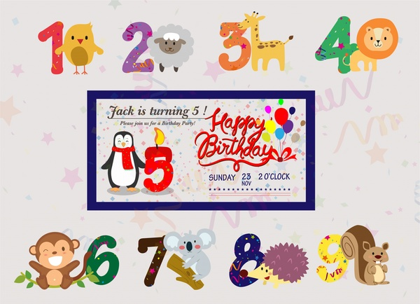 birthday banner vector with cute animals and numbers