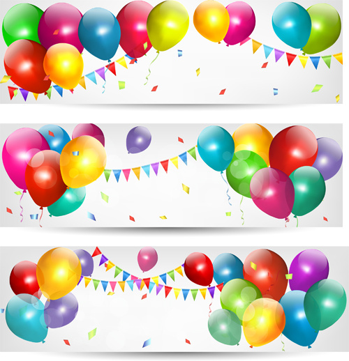 Birthday Banners Colored Balloons Vector Free Vector In