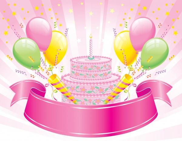 Birthday Background Cake Balloon Ribbon Icons Dynamic Design Free