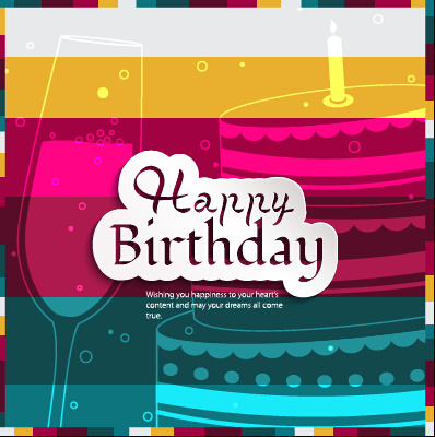 birthday cake with cup birthday card vector