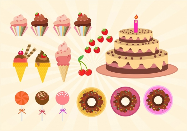 birthday cakes design elements colorful sweet icons