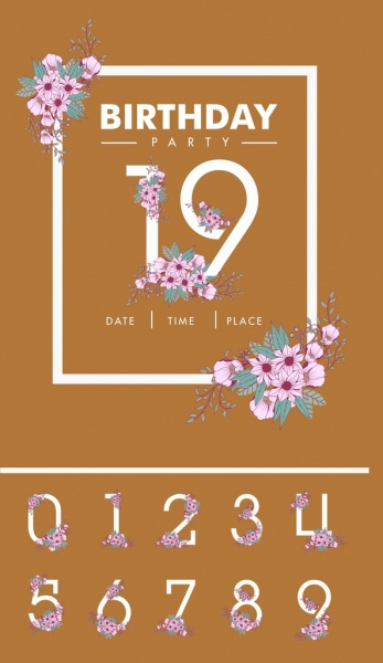 Birthday Card Background Numbers And Flowers Decoration