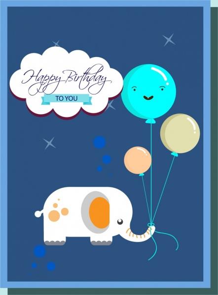 birthday card cover template cartoon elephant balloons decoration