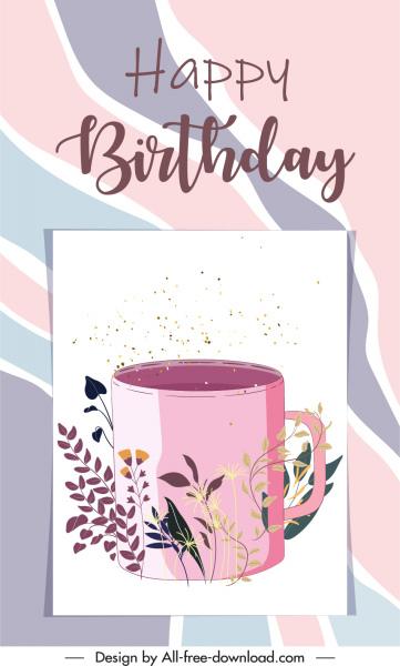 birthday card cover template elegant retro cup flora