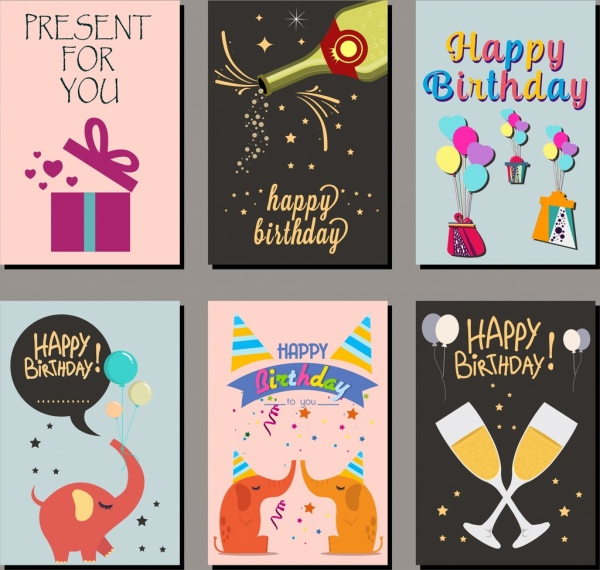 birthday card covers templates multicolored icons design