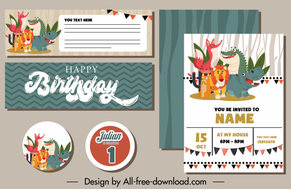 birthday card decor elements funny animals sketch