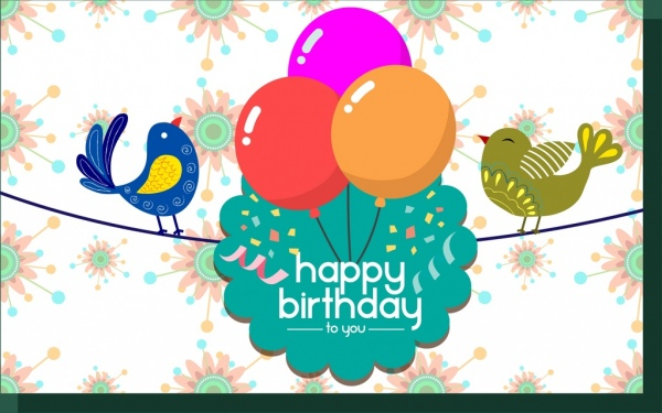 Birthday Card Template Colorful Birds And Balloons Decoration Free
