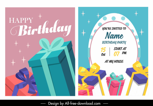 birthday card template colorful elegant present boxes decor