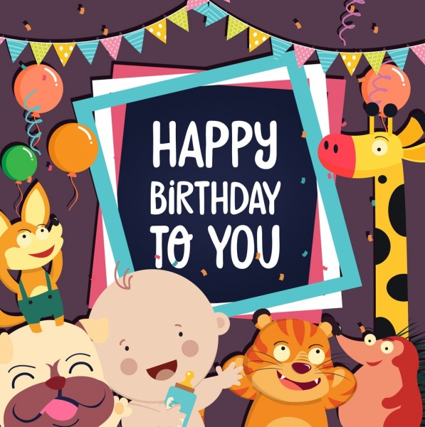 birthday card template cute kid animals icons decor