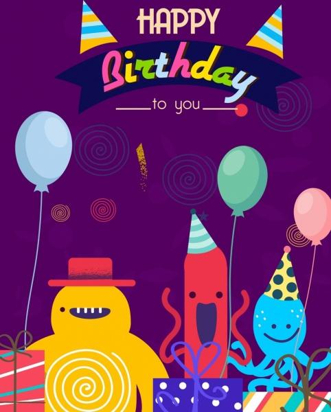 birthday card template cute stylized cartoon characters