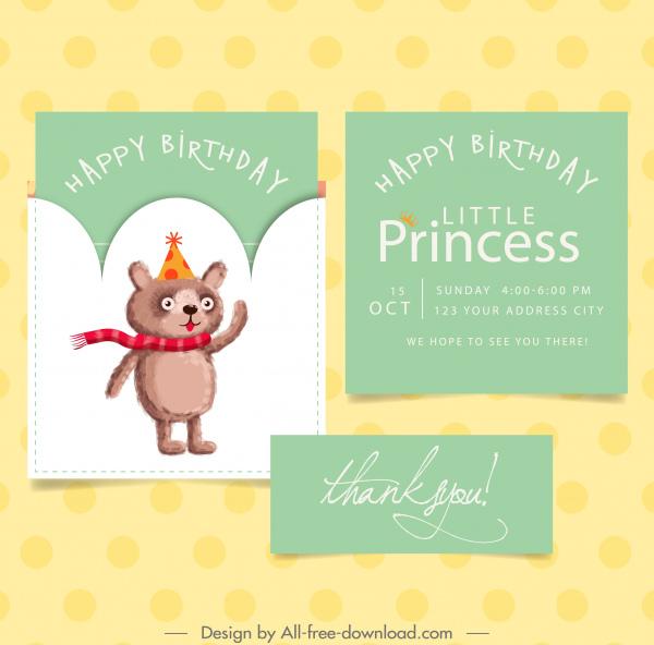 birthday card template cute teddy bear icon decor