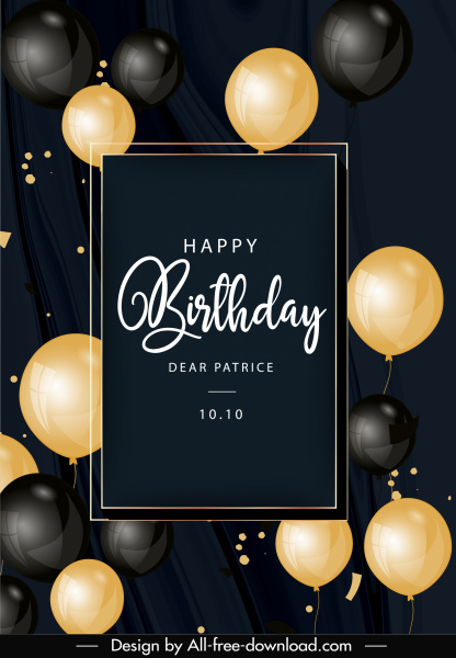 Birthday Card Template Elegant Black Golden Balloons Decor Free Vector In Adobe Illustrator Ai Ai Format Encapsulated Postscript Eps Eps Format Format For Free Download 3 62mb