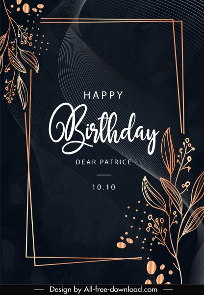 birthday card template elegant dark design handdrawn floras
