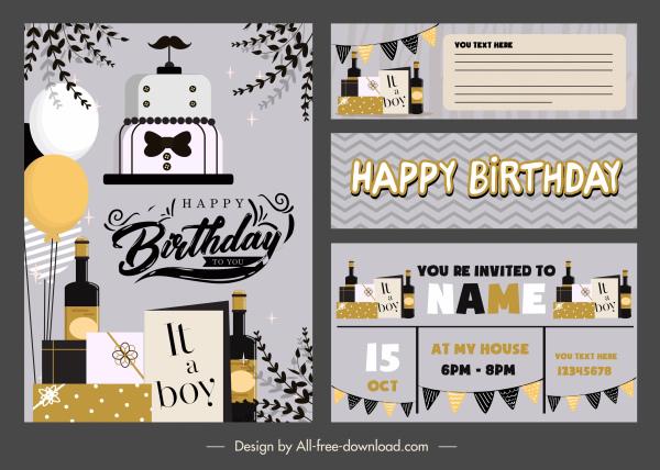 birthday card template elegant dark flat decorative elements